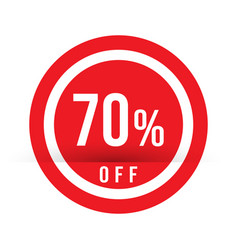70 percent off - red sale stamp - special offer vector image