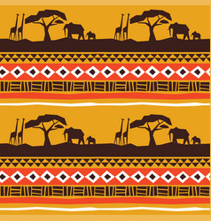african animal landscape art background vector image