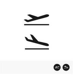 Arrivals and departure plane icons vector