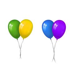 Balloons 3d couple set thread isolated white vector