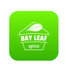 Bay leaf spice icon green vector