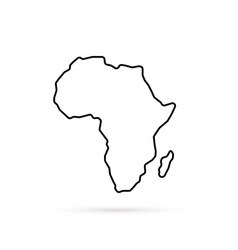 Black thin line africa map with shadow vector