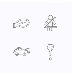 Car mirror repair oil change and seat belt vector image vector image