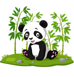 cartoon basitting panda in jungle bamboo vector image