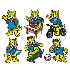 Cartoon character set of cute little wildcat vector