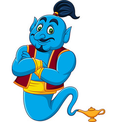 Cartoon genie coming out of a magic lamp vector