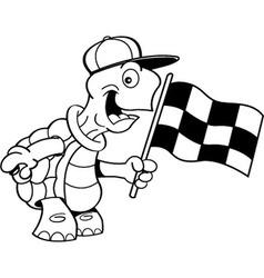 Cartoon turtle waving a flag vector image