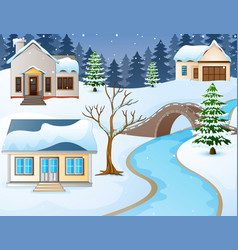 Cartoon winter rural landsc vector