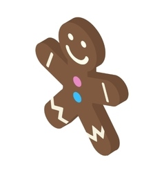 Christmas gingerbread man isometric icon vector image