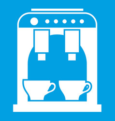 Coffee machine icon white vector