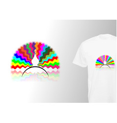 Colorful peacock tail print stylish t-shirt vector