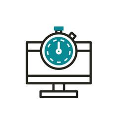 Computer optimization clock web development icon vector