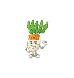 Cool king daikon on cartoon character style vector
