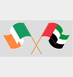 Crossed and waving flags ireland and united vector