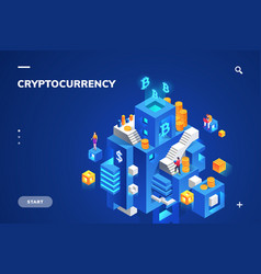 Cryptocurrency and blockchain banner crypto money vector