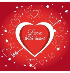 Cute card love with heart and arrow vector