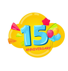 Cute cartoon template 15 years anniversary vector