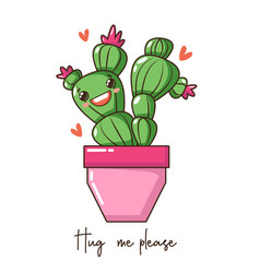 cute kawaii bacactus succulent with happy funny vector image