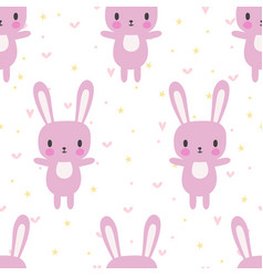 Cute seamless pattern with cartoon bunny cartoon vector