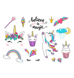 Cute unicorn with cupcake dancing little vector