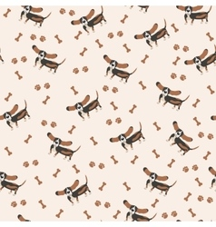 Dogs seamless pattern dog basset hound vector