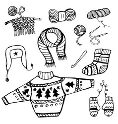 doodle knitting and crochet knitted things black vector image
