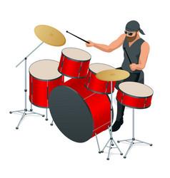 Drummer behind drum set rehearsal base vector
