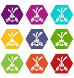 eco eggplant icons set 9 vector image