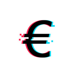 euro glitch icon on white background vector image