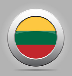 Flag of lithuania metal gray round button vector