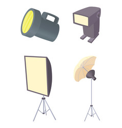 flash light icon set cartoon style vector image