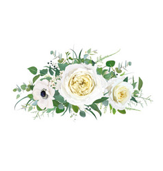 floral cream yellow flowers greenery bouquet vector image