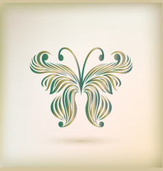 Floral greeting card with butterfly vector