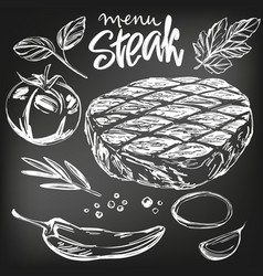 food meat steak roast vegetable set hand drawn vector image