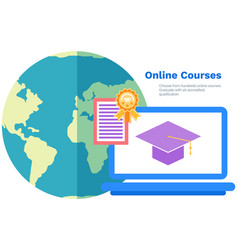 gaining experience and qualifications in online vector image
