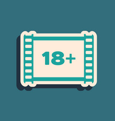 Green play video with inscription 18 plus icon vector
