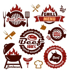 Grill menu design elements set vector