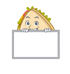 Grinning with board sandwich character cartoon vector