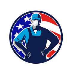 Grocery worker wearing mask usa flag circle retro vector