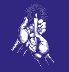 hand holds burning candle shines in the dark hand vector image