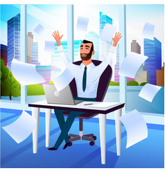 happy businessman enjoying success cartoon vector image
