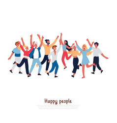 Happy people with joyful gesturing smiling adults vector