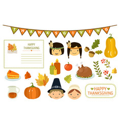 happy thanksgiving card elements thanksgiving vector image