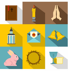 holy easter icon set flat style vector image