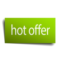 Hot offer green paper sign isolated on white vector