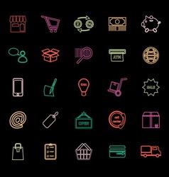 Internet entrepreneur line icons flat color vector