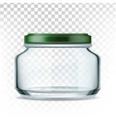 jar glass with green cap for storage sauce vector image