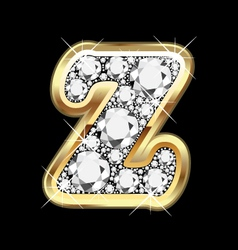 letter z gold and diamond bling bling vector image