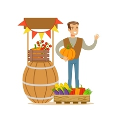 Man With Stand Of Fresh Vegetables Farmer Working vector image vector image