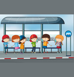 Many people waiting at the bus stop vector